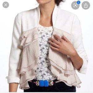 Elevenses white layered ruffle open jacket